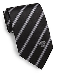 Versace Diagonal Striped Silk Tie Black