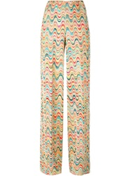 Missoni Zig Zag Pattern Knit Trousers Nude And Neutrals