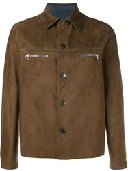 Lanvin Reversible Zipped Suede Jacket Brown