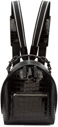 Msgm Black Croc Embossed Small Backpack