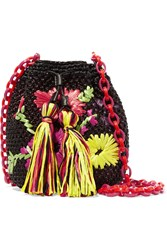 M Missoni Embroidered Raffia Shoulder Bag Black