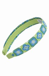 L. Erickson Satin Ribbon Headband Green Floral Tiles Blue Green