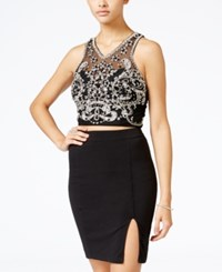 Crystal Doll Juniors' 2 Piece Embellished Halter Bodycon Dress Black Silver