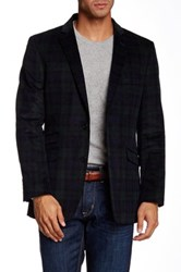 Us Polo Assn. Green And Blue Plaid Corduroy Modern Fit Two Button Notch Collar Double Vent Sport Coat