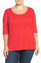 Sejour Plus Size Women's Elbow Sleeve Scoop Neck Tee Red Mars