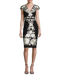 Catherine Deane Cap Sleeve Embroidered Jersey Cocktail Dress Black