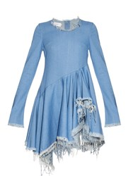 Marques Almeida Frayed Edges Long Sleeved Denim Dress