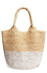 Straw Studios Colorblock Straw Shoulder Bag White