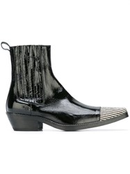 Haider Ackermann Contrast Toe Cap Ankle Boots Black
