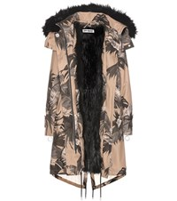 Off White Printed Faux Fur Lined Parka Beige