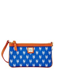 Dooney And Bourke Ny Mets Coated Cotton Large Slim Wristlet Blue