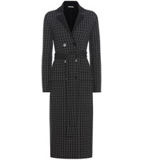 Bottega Veneta Plaid Wool And Cashmere Coat Black