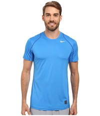 Nike Pro Cool Fitted S S Light Photo Blue Game Royal White Men's Short Sleeve Pullover