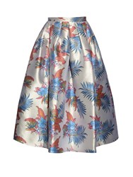 House Of Holland Dirndl Floral Jacquard Midi Skirt Cream Multi