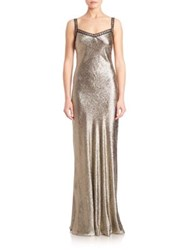 Alberta Ferretti Metallic Sleeveless Gown Dark Grey