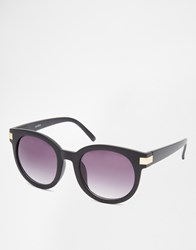 Asos Retro Round Sunglasses With Metal Corner Detail Black