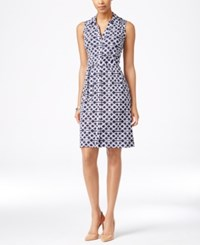 Charter Club Sleeveless Iconic Print Shirtdress Only At Macy's Intrepid Blue