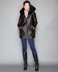 The Fur Vault Fox Trim And Rabbit Fur Lining Hooded Leather Coat Brown Brown