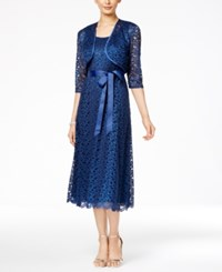 R And M Richards Belted Lace Midi Dress Jacket Navy