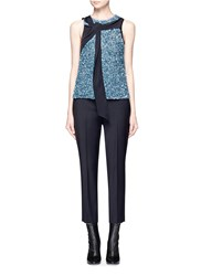 3.1 Phillip Lim Silk Trim Sequin Sleeveless Top Blue