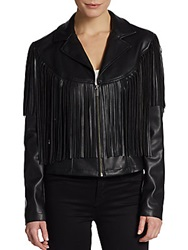 Saks Fifth Avenue Gray Fringe Trim Faux Leather Jacket Black