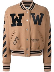 Off White Varsity Bomber Jacket Brown