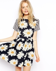 Asos Skater Dress In Gingham And Sunflower Print