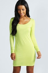 Boohoo Long Sleeve Scoop Neck Bodycon Dress Lime