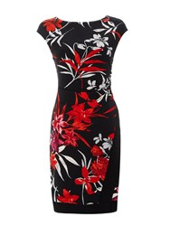 Wallis Printed Oriental Wrap Dress Black