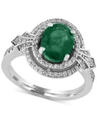 Effy Collection Effy Emerald 1 1 2 Ct. T.W. And Diamond 1 3 Ct. T.W. Ring In 14K White Gold