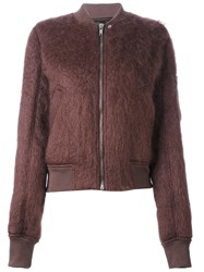 Rick Owens Textured Bomber Jacket Pink And Purple