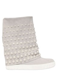 Casadei 90Mm Embellished Suede Wedge Sneakers