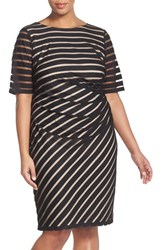 Plus Size Women's London Times Sheer Stripe Sheath Dress