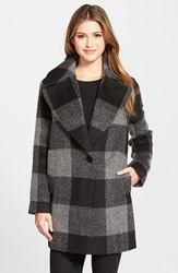 Kensie Oversize Plaid Coat Black Charcoal Plaid