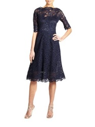 Teri Jon By Rickie Freeman Lace Flared Dress Navy