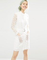 Monki Button Up Lace Shirt Dress 10 100 White