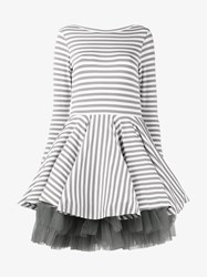 Natasha Zinko Mini Striped Jersey Dress Grey White