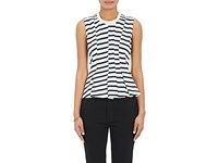 Alexander Wang T By Women's Striped Pleated Peplum Top Ivory Blue No Color Ivory Blue No Color