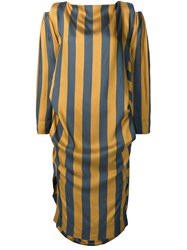 Vivienne Westwood Anglomania Asymmetric Striped Dress Yellow And Orange