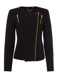 Episode Jersey Jacket With Gold Zips Black