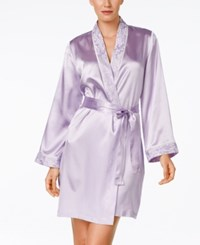 Morgan Taylor Lace Trim Satin Wrap Robe Only At Macy's Hydrangea Petal