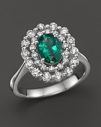 Bloomingdale's Emerald And Diamond Oval Ring In 14K White Gold