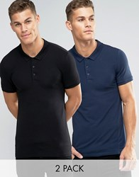 Asos Extreme Muscle Jersey Polo 2 Pack In Navy And Black Navy Black Multi