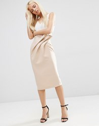 Asos Textured Pencil Skirt With Paperbag Waist Neutral Beige