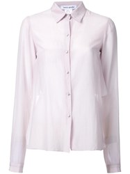Bianca Spender Semi Sheer Long Sleeve Shirt Pink Purple