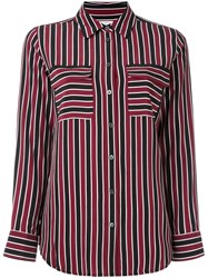Equipment Striped Pocket Shirt Red