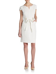 Notched Tie Waist Dress Ivory