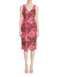David Meister Double V Neck Embroidered Cocktail Dress Rose