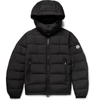 Moncler Brique Quilted Shell Hooded Down Jacket Black