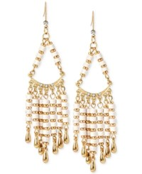 Inc International Concepts M. Haskell For Inc Gold Tone White Beaded Chandelier Earrings Only At Macy's